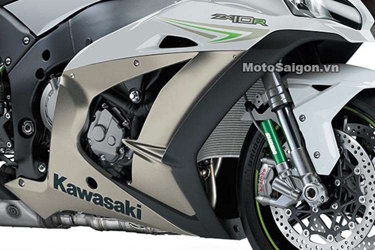 Xe mô tô Kawasaki Ninja ZX-10R 2021 2021 ra mắt màu trắng xám titanium 3