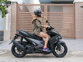Dáng ngồi của nữ 1m62 trên NVX 155 motosaigon