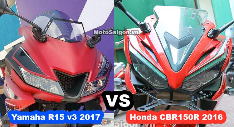So sánh Yamaha R15 v3 2017 vs Honda CBR150R ngoại hình thông số